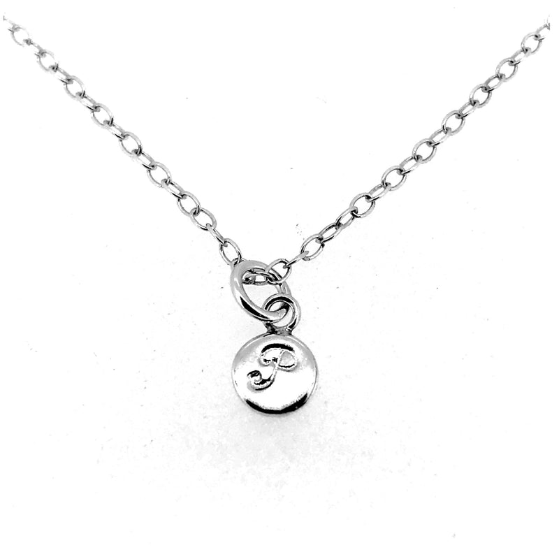 Initial P Necklace Tiny 6mm Personalised Letter Disc Pendant Sterling Silver Ballroom Font