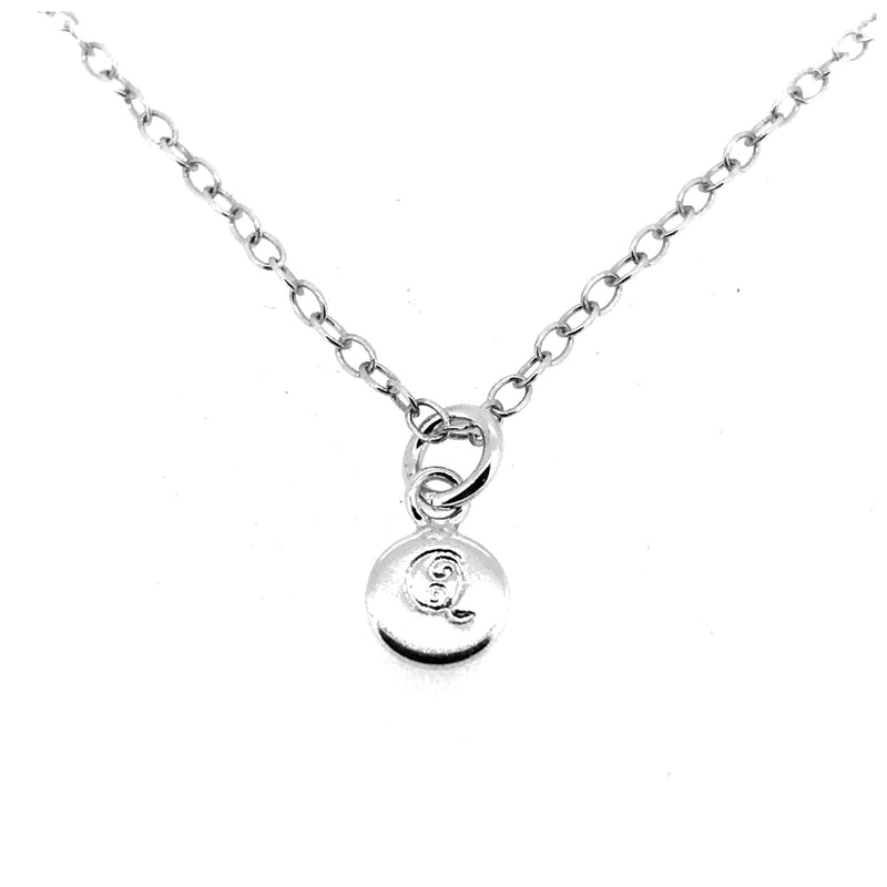 Initial Q Necklace Tiny 6mm Personalised Letter Disc Pendant Sterling Silver Ballroom Font
