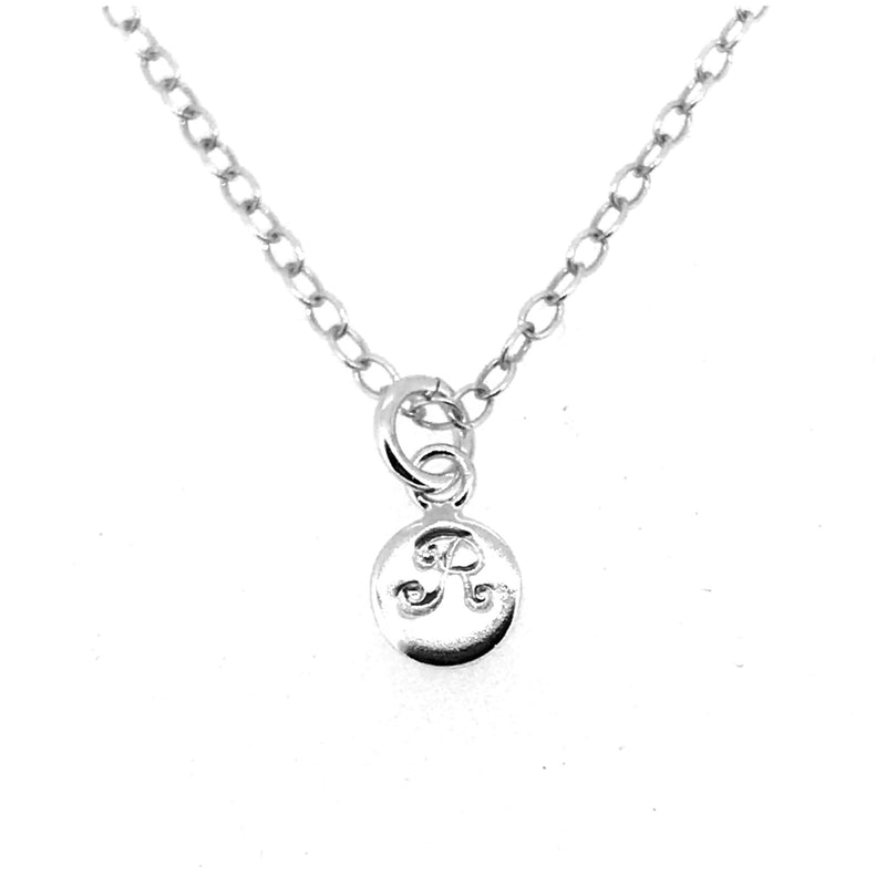 Initial R Necklace Tiny 6mm Personalised Letter Disc Pendant Sterling Silver Ballroom Font