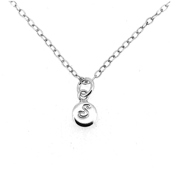 Initial S Necklace Tiny 6mm Personalised Letter Disc Pendant Sterling Silver Ballroom Font