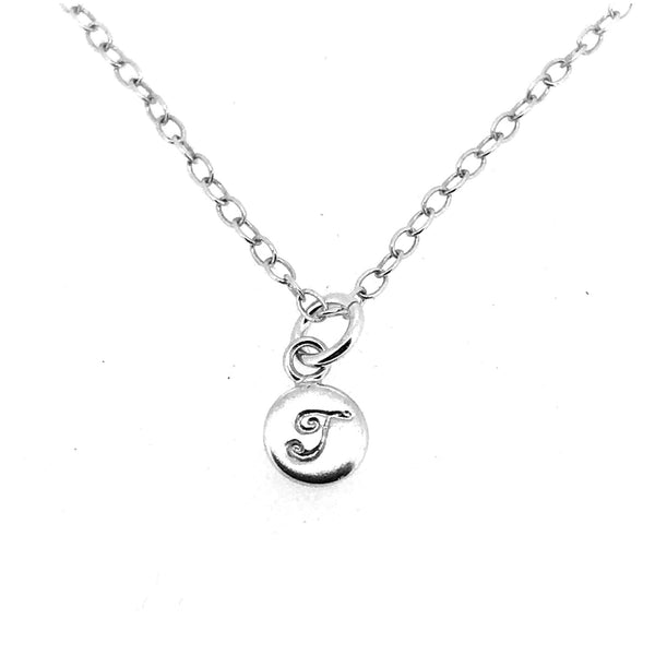 Initial T Necklace Tiny 6mm Personalised Letter Disc Pendant Sterling Silver Ballroom Font
