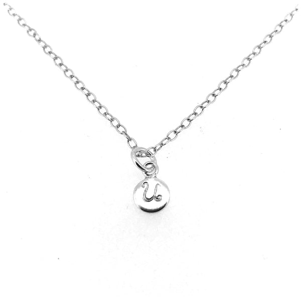 Initial U Necklace Tiny 6mm Personalised Letter Disc Pendant Sterling Silver Ballroom Font