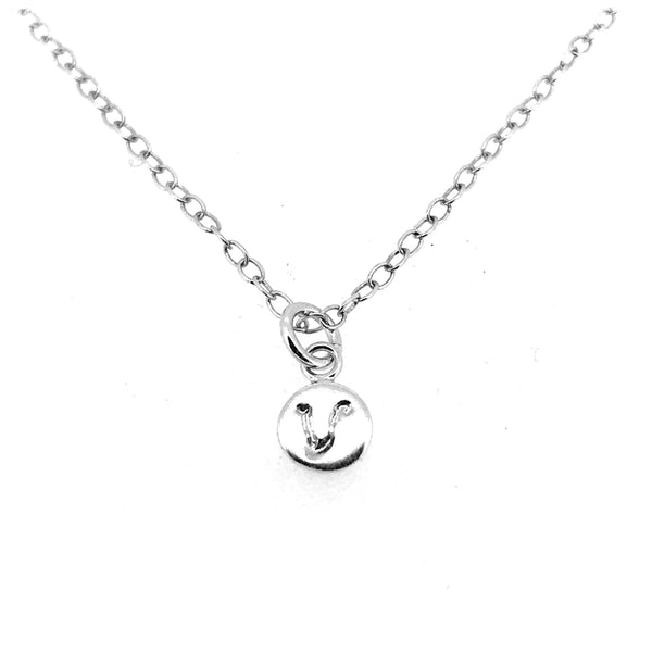 Initial V Necklace Tiny 6mm Personalised Letter Disc Pendant Sterling Silver Ballroom Font