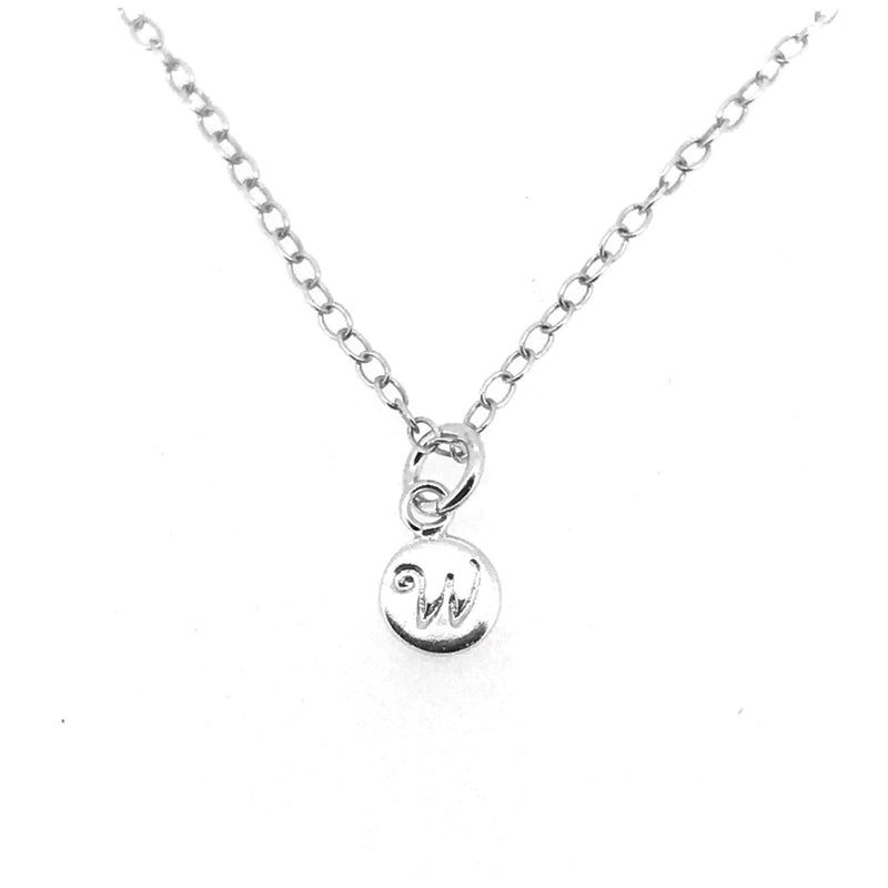 Initial W Necklace Tiny 6mm Personalised Letter Disc Pendant Sterling Silver Ballroom Font