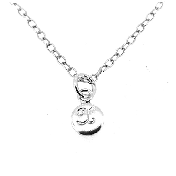 Initial X Necklace Tiny 6mm Personalised Letter Disc Pendant Sterling Silver Ballroom Font