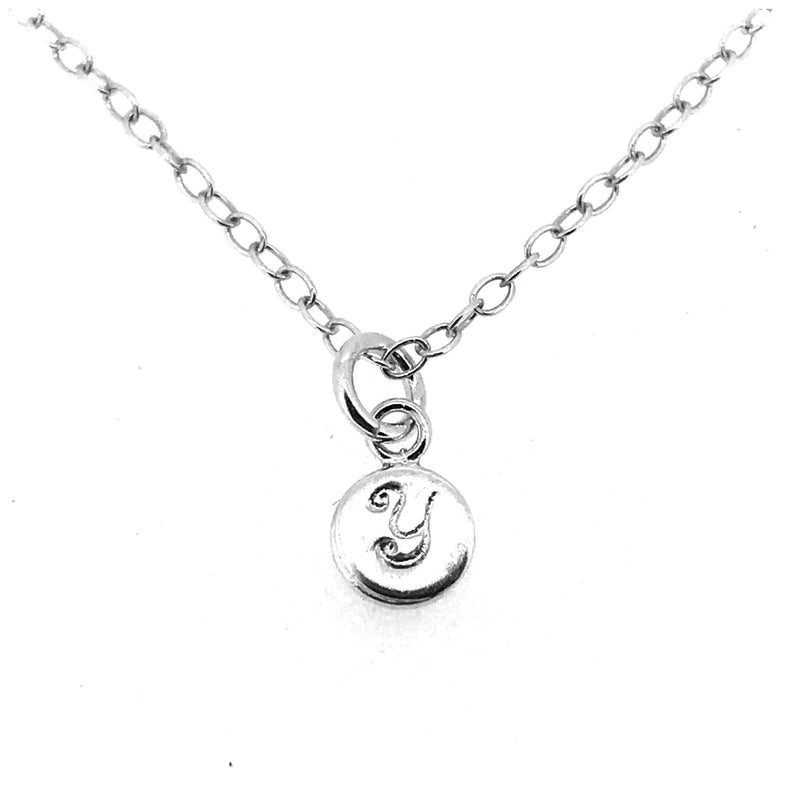Initial Y Necklace Tiny 6mm Personalised Letter Disc Pendant Sterling Silver Ballroom Font