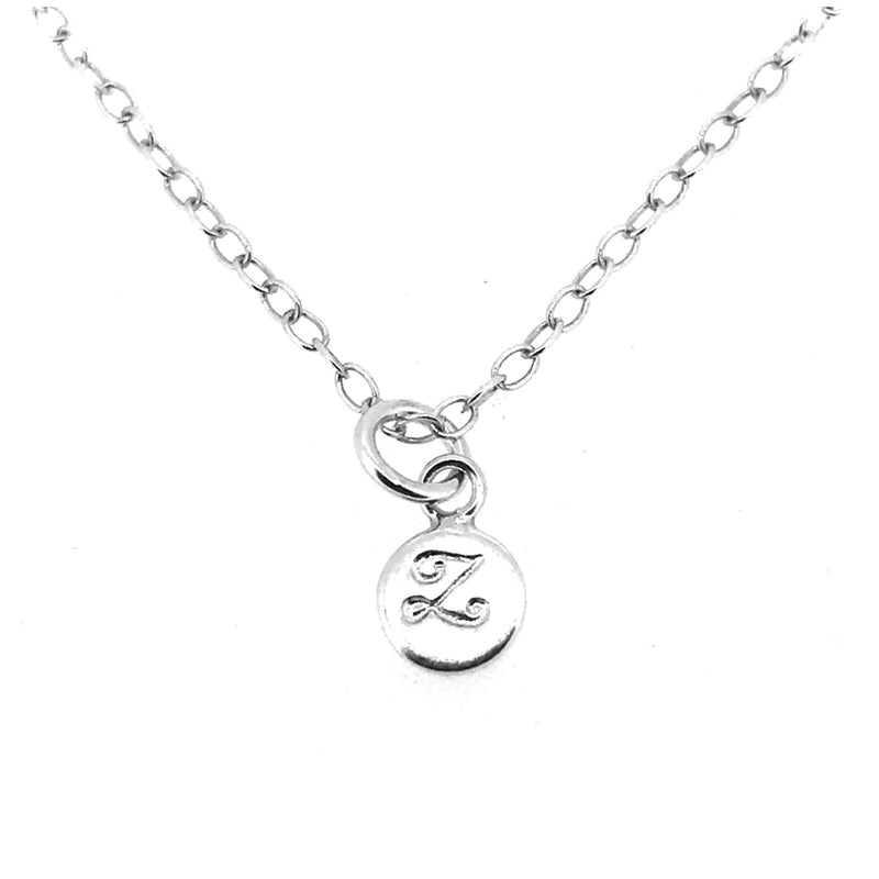 Initial Z Necklace Tiny 6mm Personalised Letter Disc Pendant Sterling Silver Ballroom Font