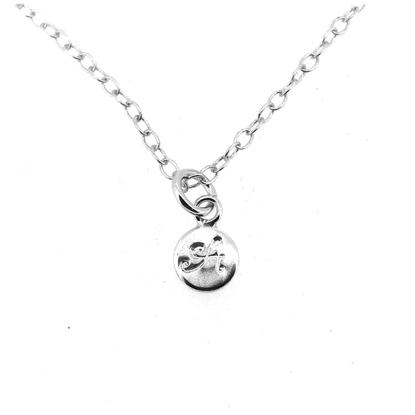 Initial A Necklace Tiny 6mm Personalised Letter Disc Pendant Sterling Silver Ballroom Font