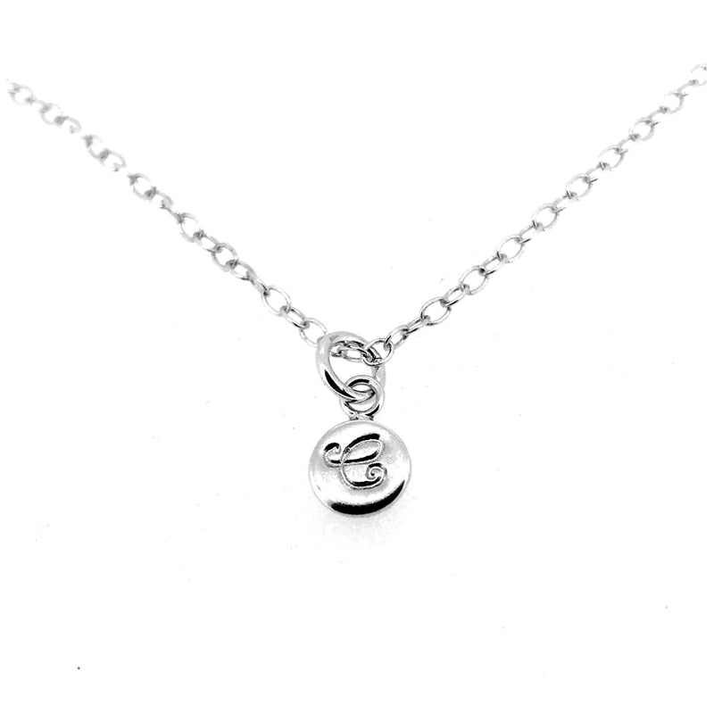 Initial C Necklace Tiny 6mm Personalised Letter Disc Pendant Sterling Silver Ballroom Font