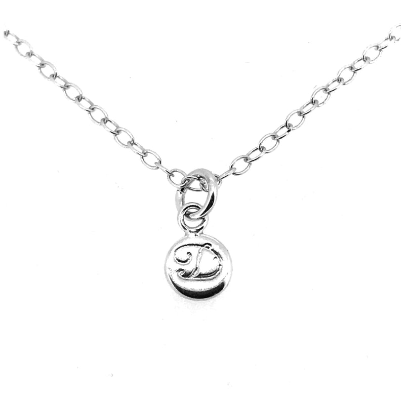 Initial D Necklace Tiny 6mm Personalised Letter Disc Pendant Sterling Silver Ballroom Font