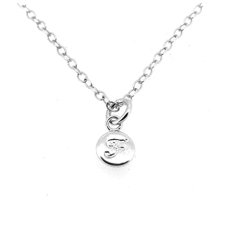 Initial F Necklace Tiny 6mm Personalised Letter Disc Pendant Sterling Silver Ballroom Font