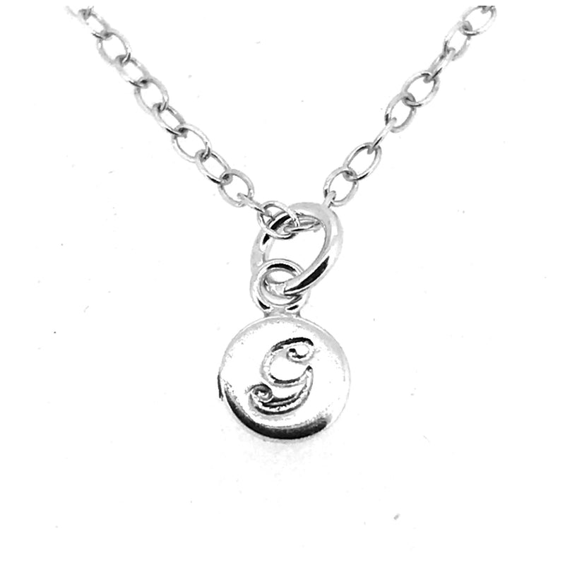 Initial G Necklace Tiny 6mm Personalised Letter Disc Pendant Sterling Silver Ballroom Font