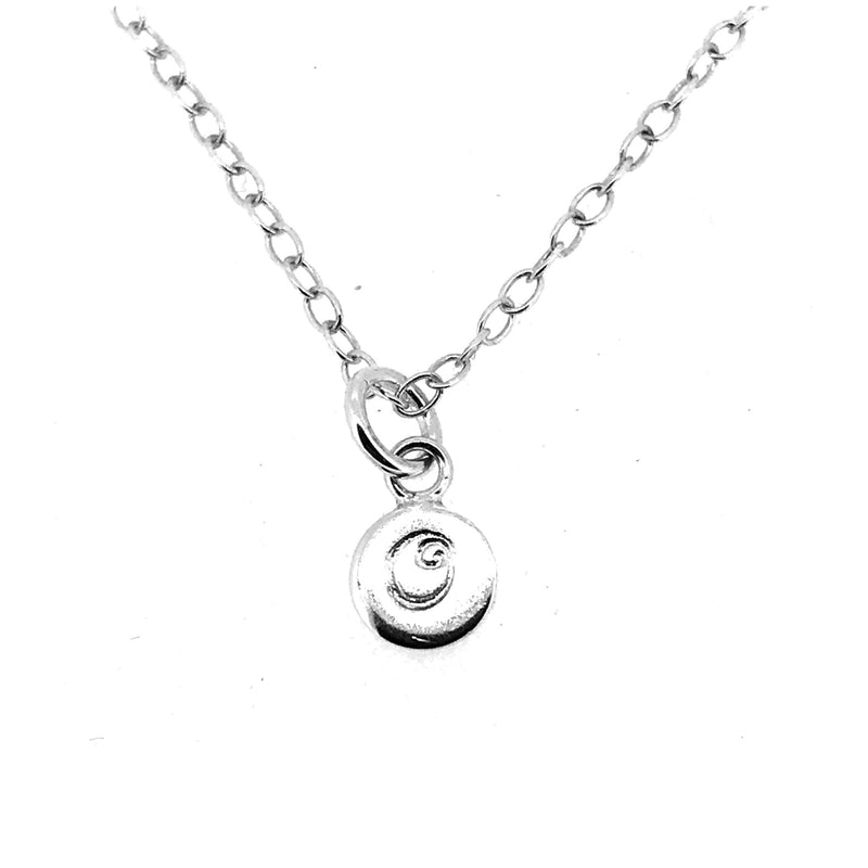 Initial O Necklace Tiny 6mm Personalised Letter Disc Pendant Sterling Silver Ballroom Font