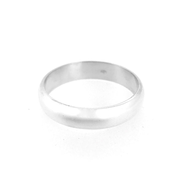 6mm Sterling Silver D Shaped Wedding Band Ring
