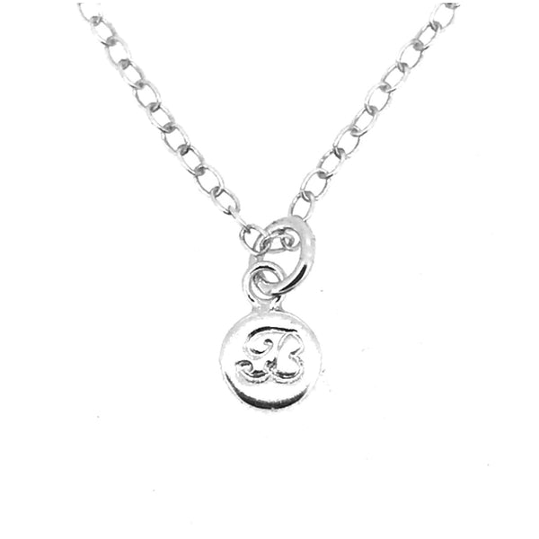Initial B Necklace Tiny 6mm Personalised Letter Disc Pendant Sterling Silver Ballroom Font
