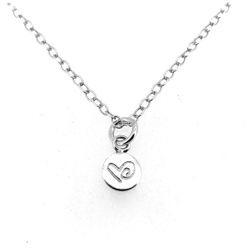 Love Heart Necklace Sterling Silver Tiny 6mm Disc Pendant