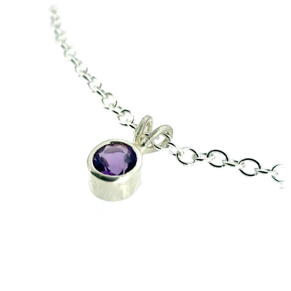 Natural Amethyst 5mm Round Cut Pendant Sterling Silver Necklace