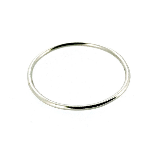 1mm Solid 9ct White Gold Slim Round Wedding Band or Skinny Stacking Ring