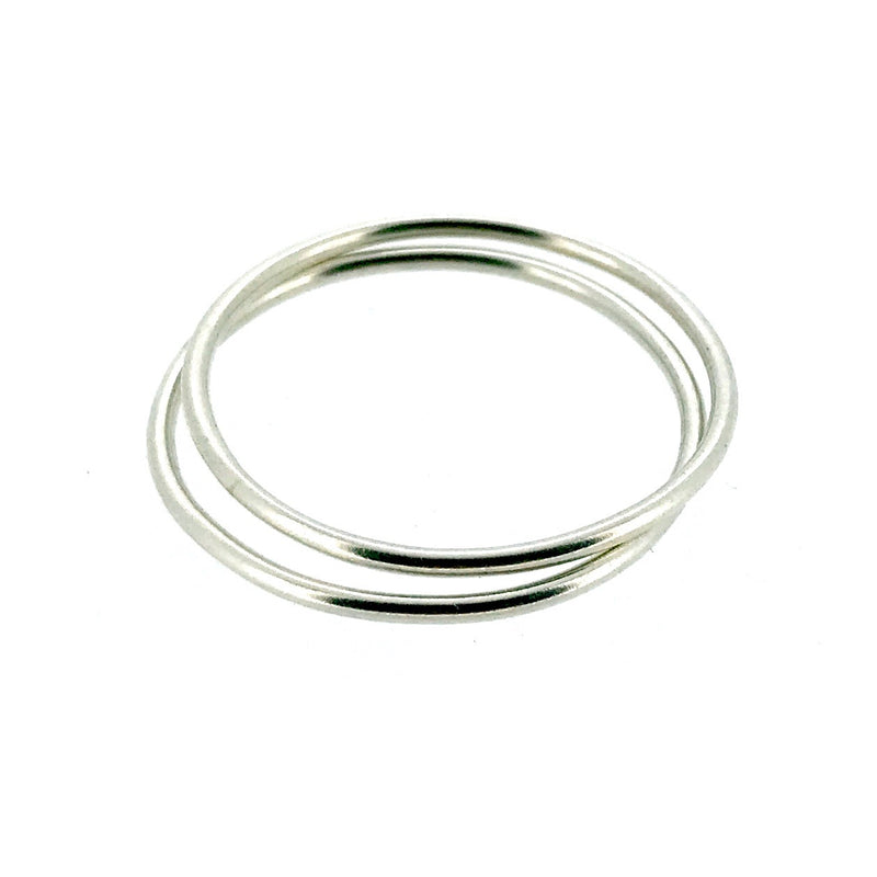 1mm Sterling Silver Skinny Round band Stacking Ring Polished Finish UK Size Set of 2