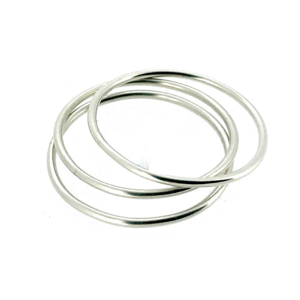 1mm Sterling Silver Skinny Round band Stacking Ring Polished Finish UK Size Set of 3