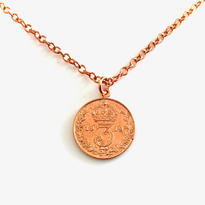 Vintage Coin Necklace 18ct Red Rose Gold Plated Antique 1919 Pendant
