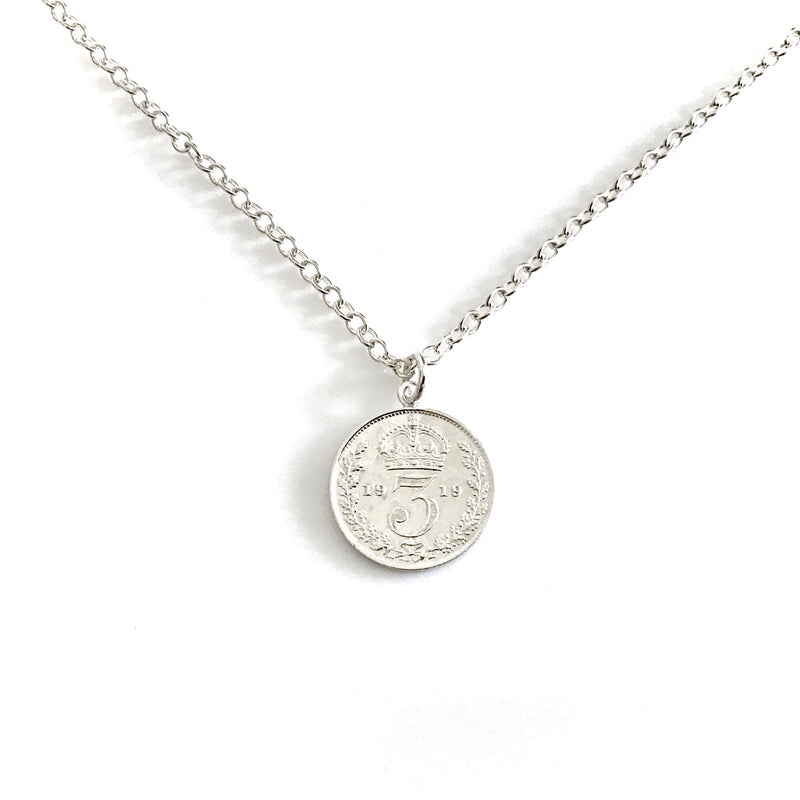 Vintage Coin Necklace Sterling Silver Antique 1919 Pendant