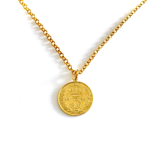Vintage Coin Necklace 22ct Gold Plated Antique 1919 Pendant