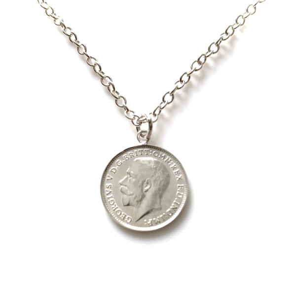Vintage Coin Necklace Sterling Silver Antique 1918 Pendant