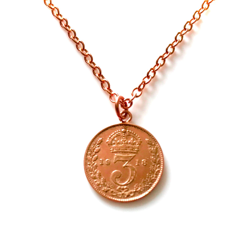 Vintage Coin Necklace 18ct Red Rose Gold Plated Antique 1918 Pendant