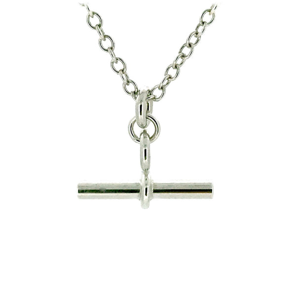 T Bar Necklace Sterling Silver Chain 2cm Albert Pendant