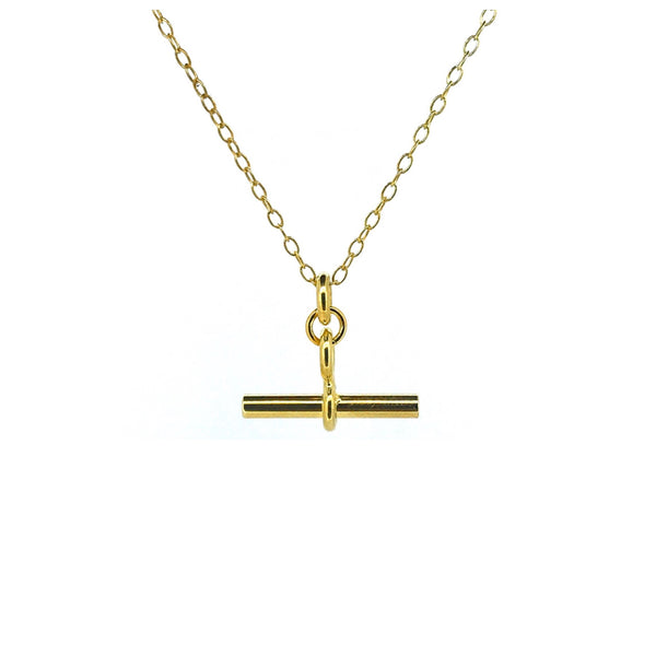 T Bar Necklace 18ct Gold Vermeil 2cm Albert Pendant Chain