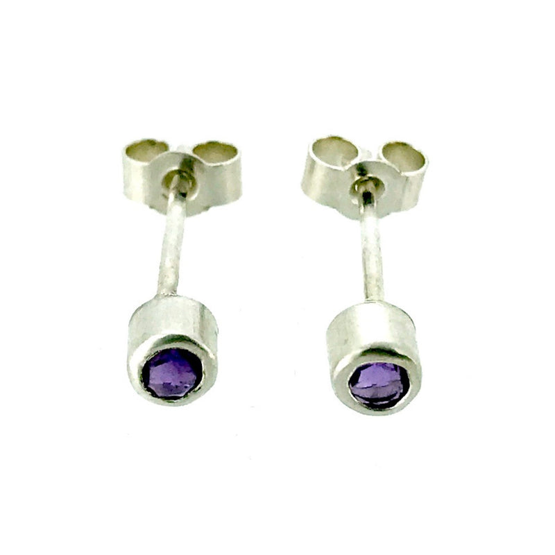 Natural Amethyst Earrings 3mm Round Cut Sterling Silver Studs