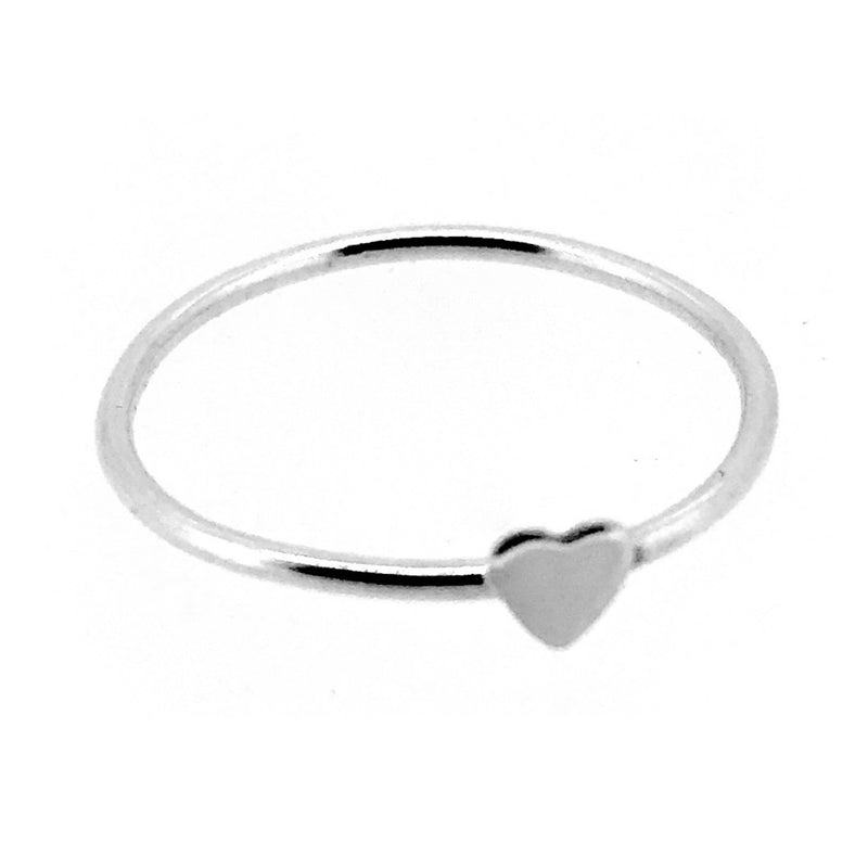 Heart Ring Sterling Silver Skinny Round Stacking Band