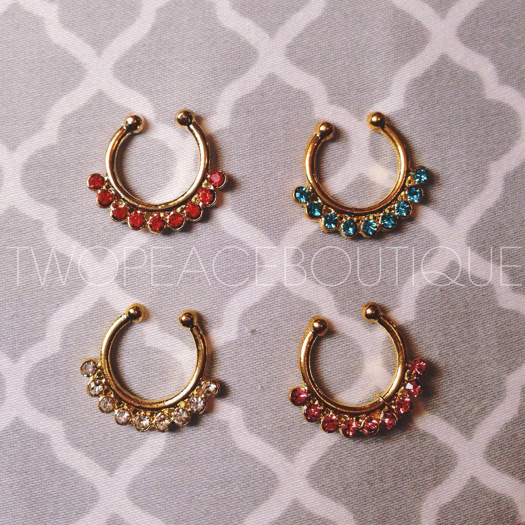 Gold Jewel Faux Septum Ring