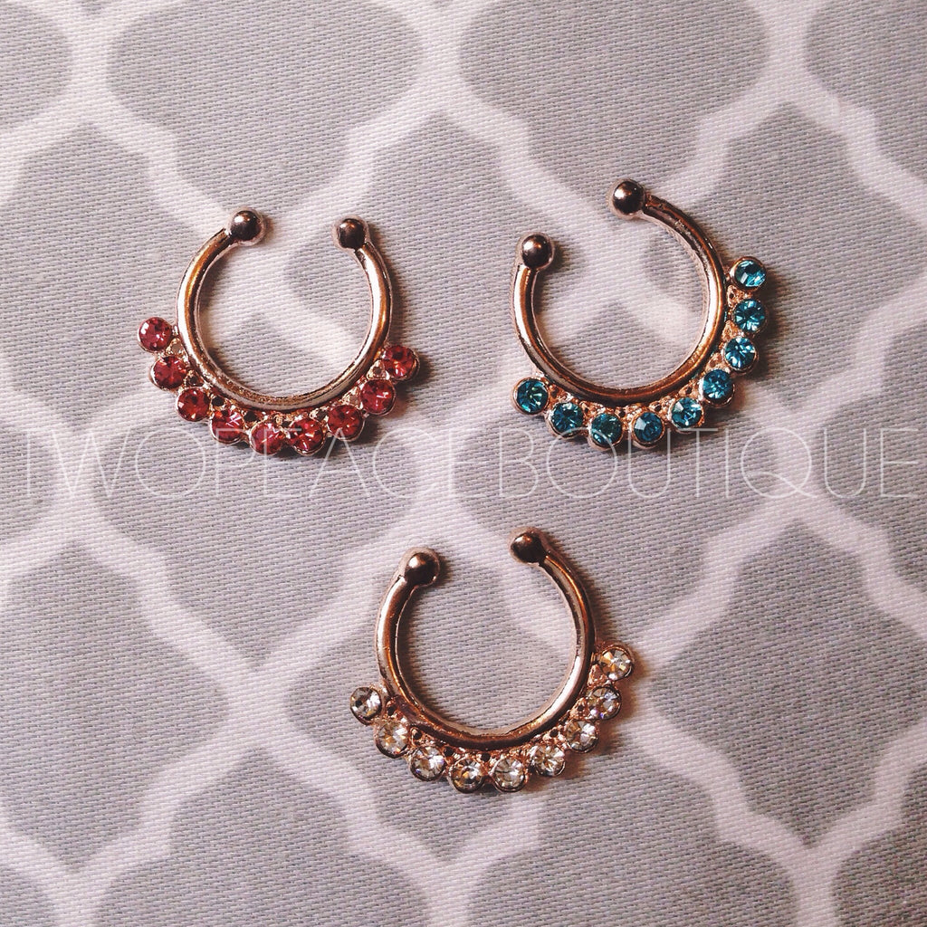 Rose Gold Jewel Faux Septum Ring
