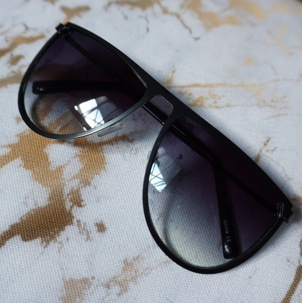 Black Metal Flat Top Sunglasses