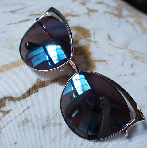 Metal Glam Cat Eye Sunglasses (Designer Inspired)