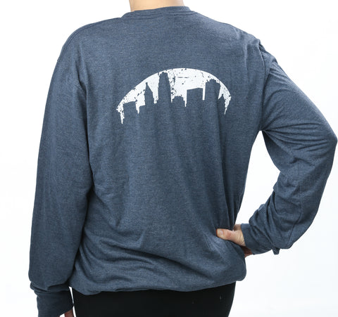 Skyline Navy Frost Crewneck Long Sleeve T-Shirt
