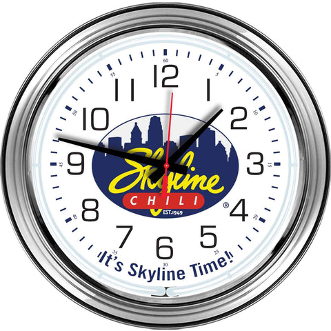 "16"" Chrome Skyline Chili Neon Clock"