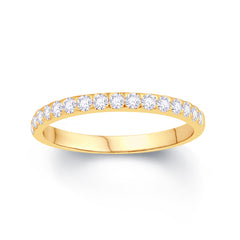 18CT YELLOW GOLD TRIANGLE CLAW 0.25CT DIAMOND WEDDING RING