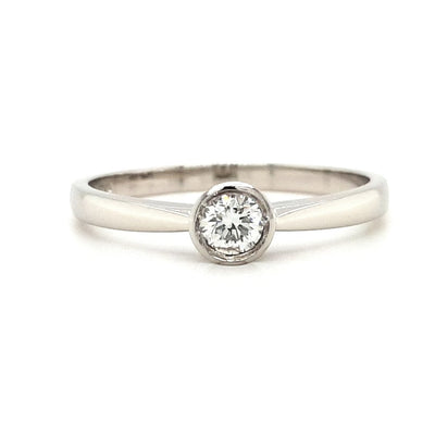 Platinum Rub Over Solitaire Diamond Ring