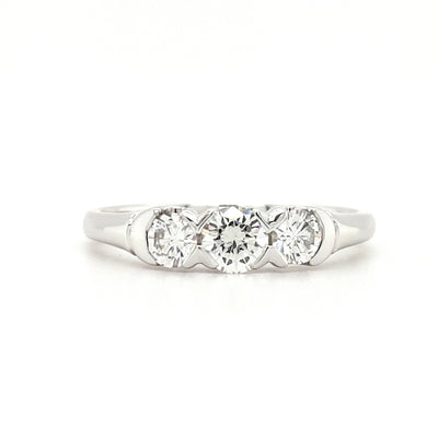 Platinum Three Stone Tension Set 0.55ct Engagement Ring