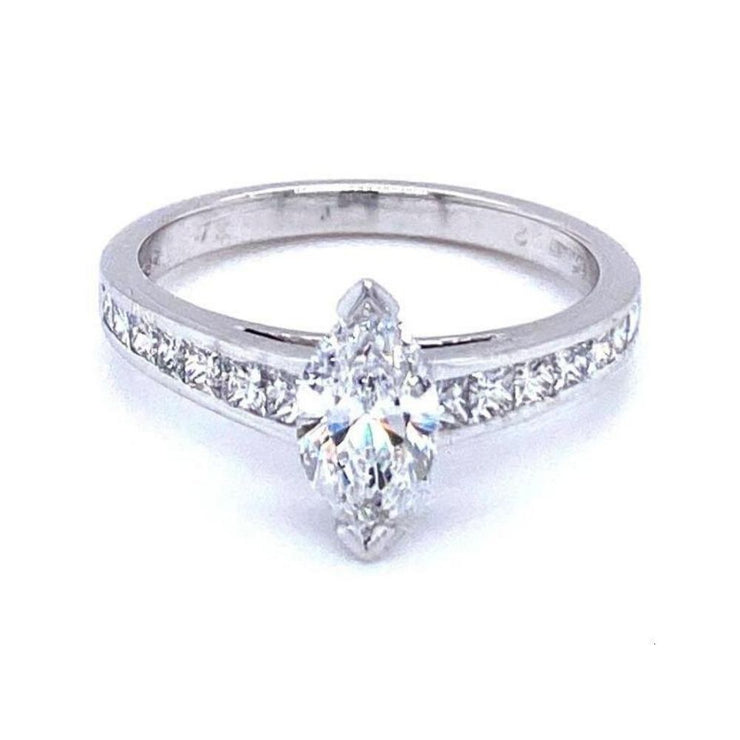 18ct White Gold Marquise Diamond Engagement Ring