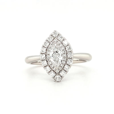 Platinum Marquise Halo Engagement Ring
