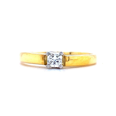 18ct Gold Princess Cut 0.35ct Solitaire Engagement Ring