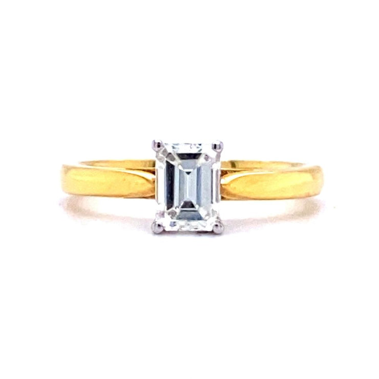 18ct Gold Emerald Cut Solitaire Engagement Ring