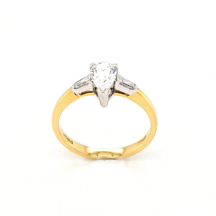 18ct Gold Pear and Baguette Diamond Engagement Ring