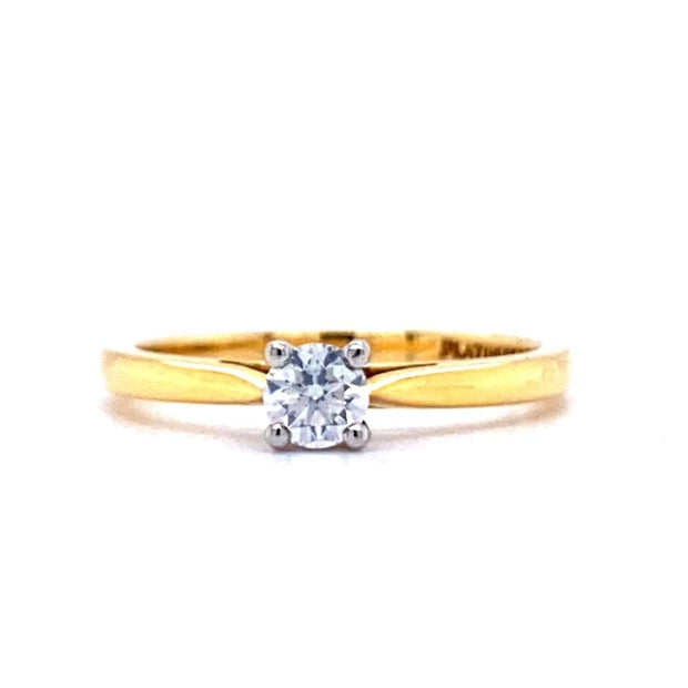18ct Yellow Gold 0.25ct Diamond Solitaire Engagement Ring