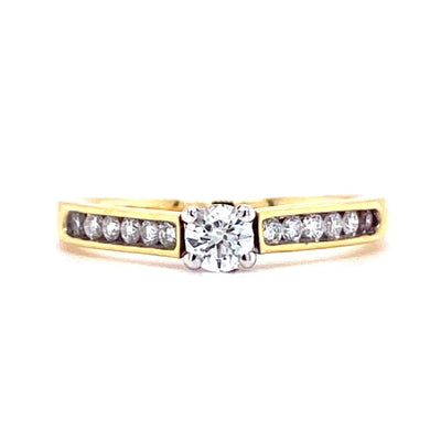 18ct Yellow Gold Solitaire with Channel Shoulders Engagement Ring