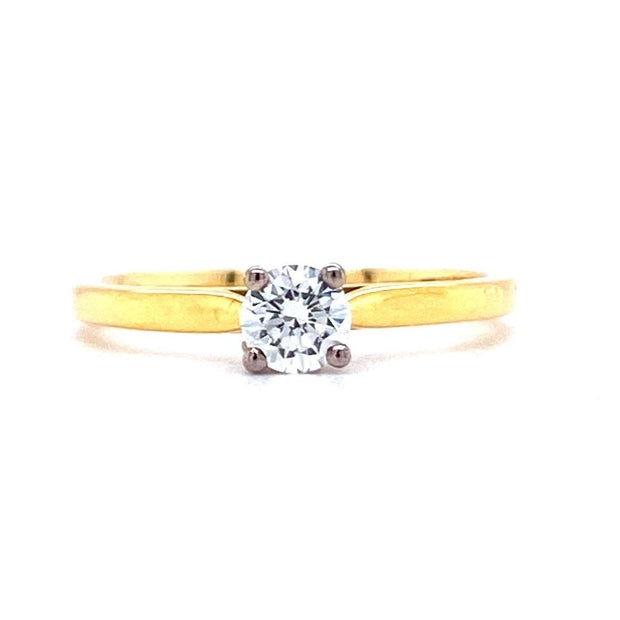 18ct Yellow Gold 0.33ct Diamond Solitaire Engagement Ring